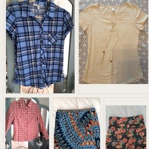 Bundle shirts, a pair of shorts and a skirt